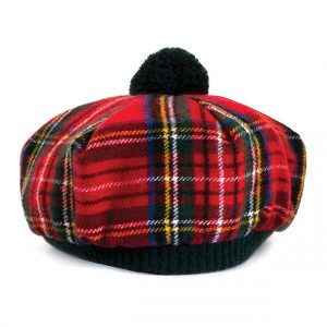 Tartan Hat For Men With Black Pom