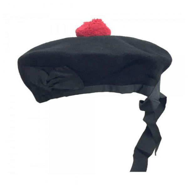 Plain Black Beanie Glengarry Hat