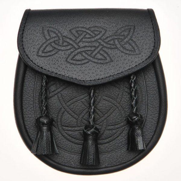 Celtic Knot Embossed Leather Kilt Sporran