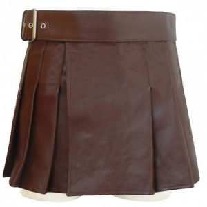 Brown Leather Wrap Around Style Kilt