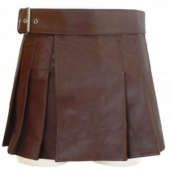 Brown Leather Wrap Around Style Kilt