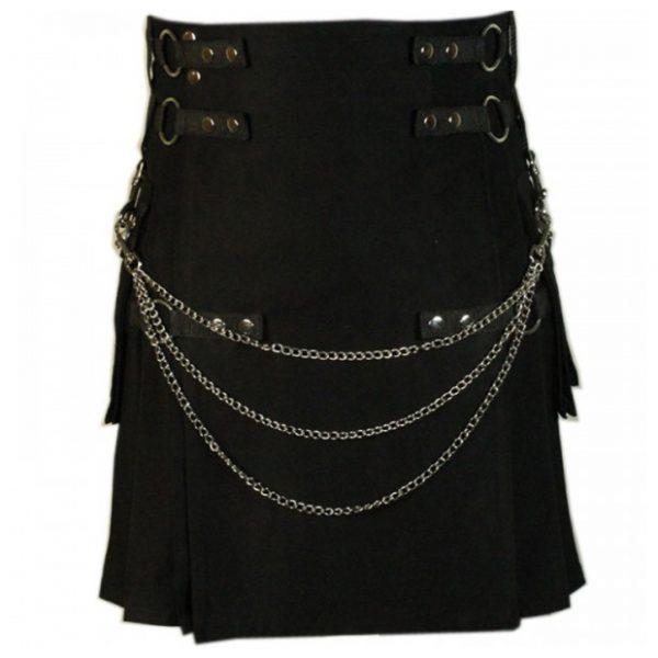 Scottish Black Fashion Utility Kilt With Chains