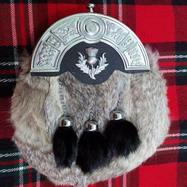 Scottish Grey Rabbit Fur Kilt Thistle Sporran