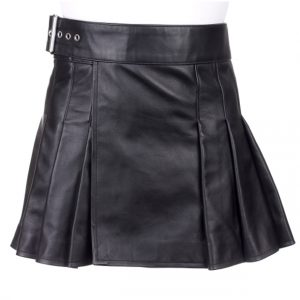 Short black leather kilt For Women