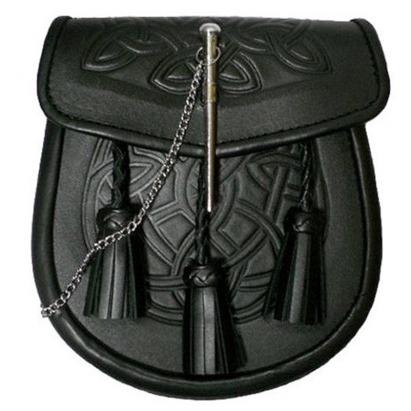 Black Celtic Embossed Leather Kilt Sporran