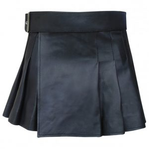 Black Mini Leather Skirt For Men