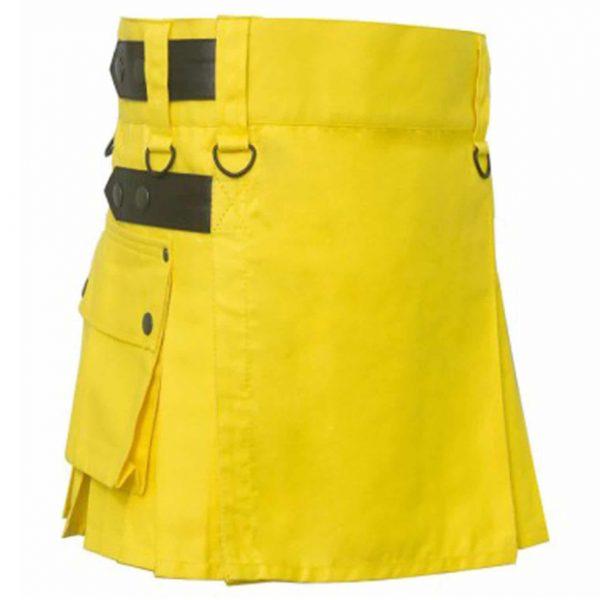 Yellow Utility Mini kilt For Women