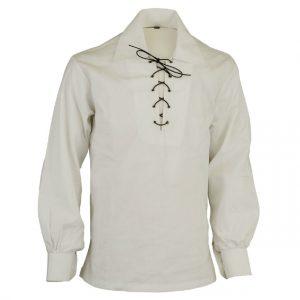 Scottish White Jacobite Ghillie Kilt Shirt