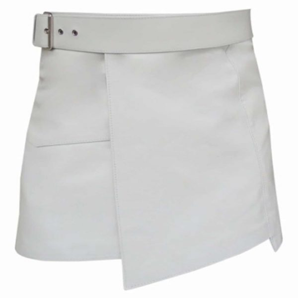 White Leather Mini Kilt For Women