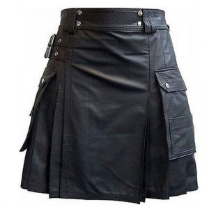 Black Leather Utility Kilt