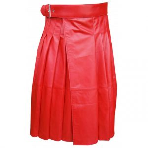 Red Long Length Leather Kilt