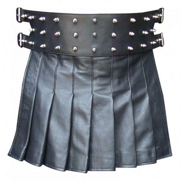 Mini Leather Gladiator Kilt Style With Studs
